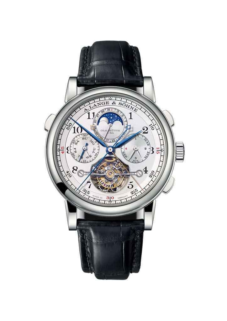 The complex caliber of the A. Lange & Sohne Tourbograph Perpetual Pour Le Merite watch consists of more than 600 pieces.