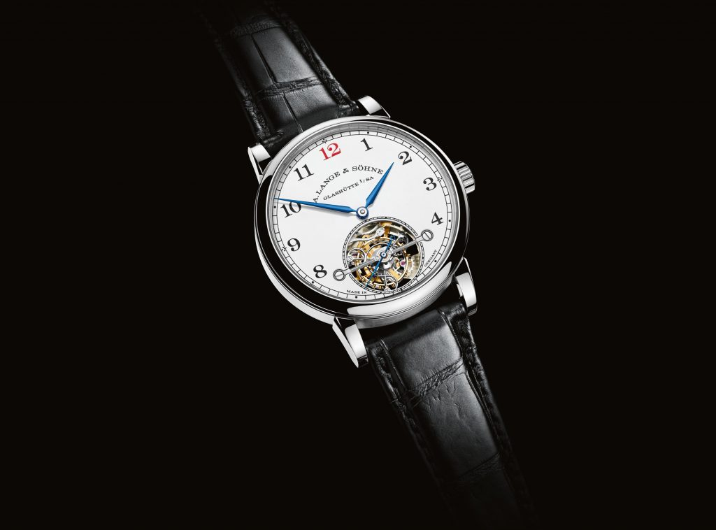A. Lange *& Sohne 1815 Tourbillon Enamel watch is powered by the L102.1 caliber with two patented mechanisms that include zero-reset and stop-seconds.