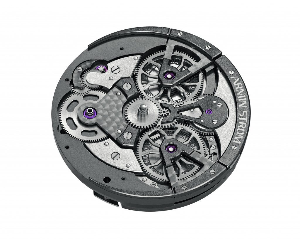 The Arm 16 Manufacture made movement consists of 194 geometrically inspired parts.