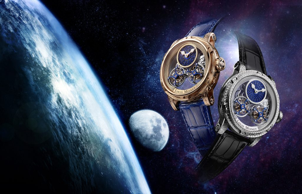 Louis Moinet Acasta and Dhofar watches with billion+-year-old Earth and Moon rock.