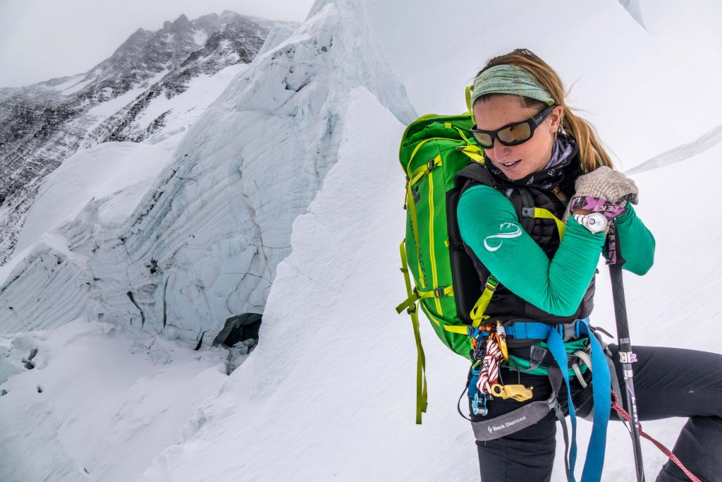 Melissa Arnot, Alpina brand ambassador, climbing Everest.