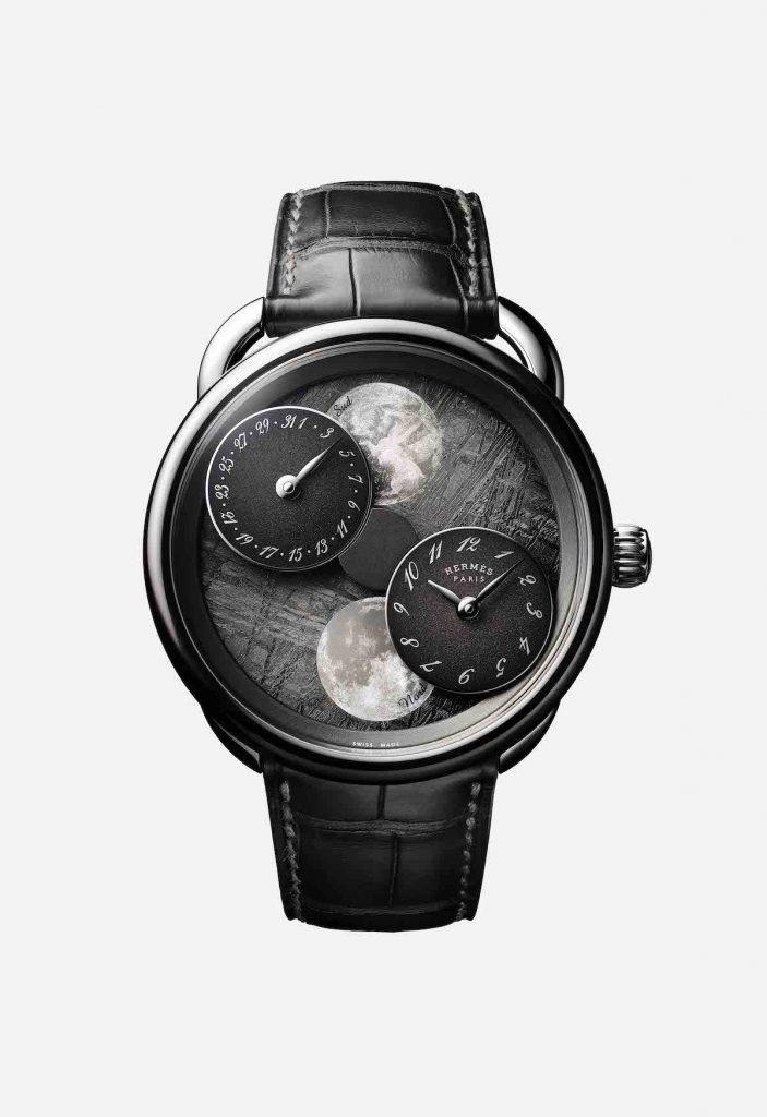 SIHH 2019? Hermes Arceau L'Heure De La Lune watch with meteorite dial.