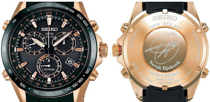 The Front  and Back Casing of The Astron GPS Solar Novak Djokovic with his engraved signature