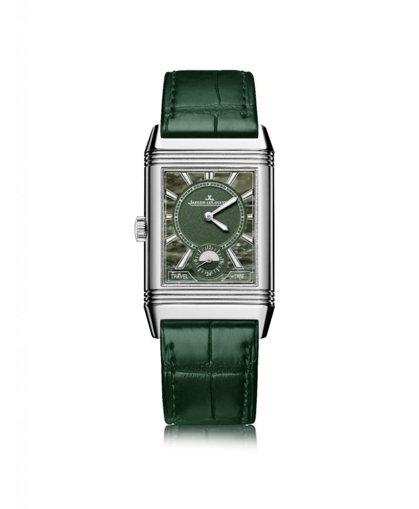 Jaeger-LeCoultre turns to stone dials, as well, for the Atelier Reverso concept, such as this green Military-hued marble.