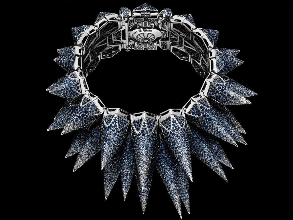 Side view of the Audemars Piguet Diamond Outrage cuff watch.