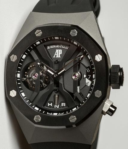 The Audemars Piguet Royal Oak Concept GMT Tourbillon in black ceramic and titanium.