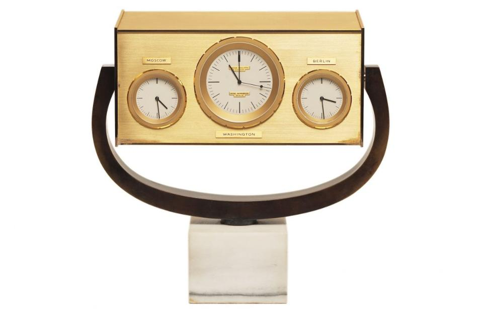 Patek Philippe quartz clock presented to President John F. Kennedy by the Mayor of Berlin.