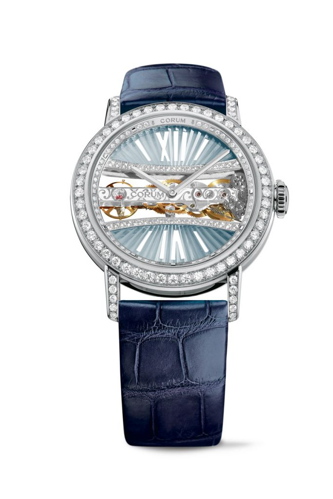A painter's palette of colors is being offered in the new Corum Golden Bridge round women's watch.