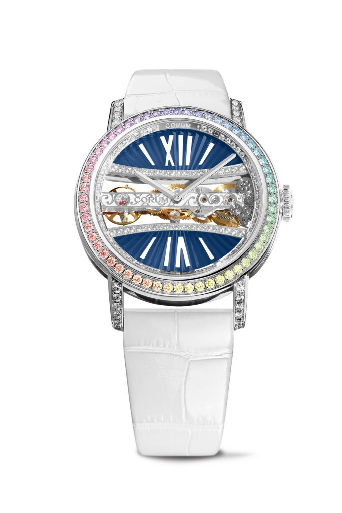 The new Corum Bridge Golden Bridge round watch for women is offered with a host of stunning diamond and gemstone setting.