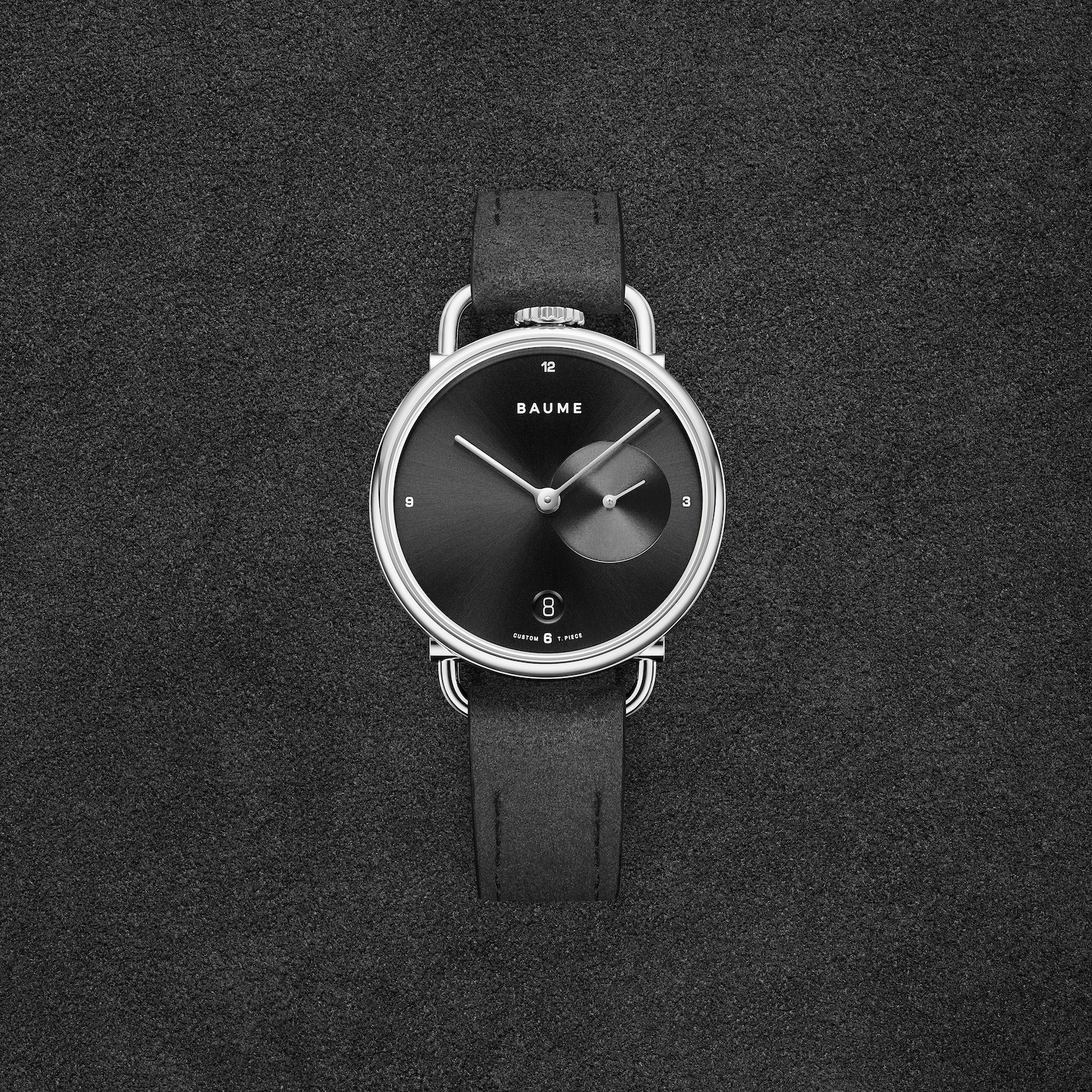 Baume Custom Timepiece Series watch with Alcantara strap.