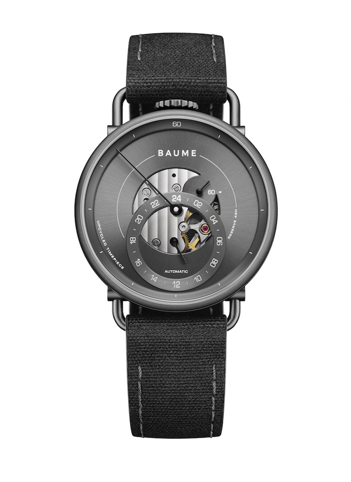 Baume Icon watch line has two size case offerings: 35mm and 41 mm and two different movements, including this one with 24-hour indication and retrograde minutes.