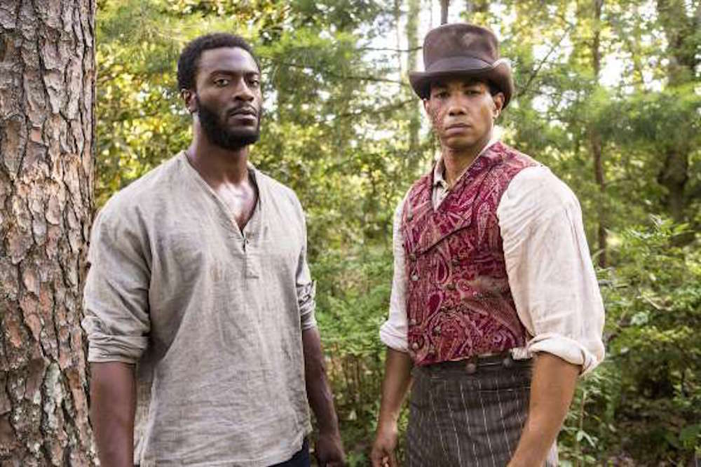 Aldis Hodge (left) in the WGA American TV series, Underground, a role Hodge says has been pivotal for him.