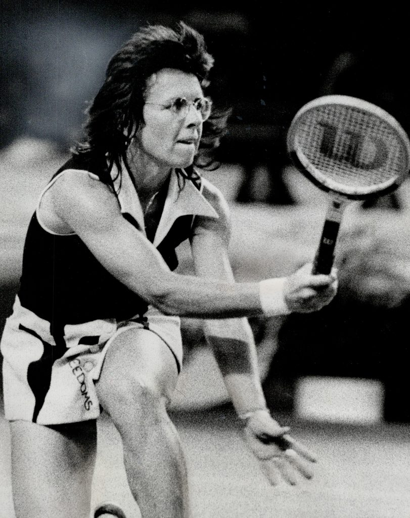 Billie Jean King in the famous match against Bobby Riggs.