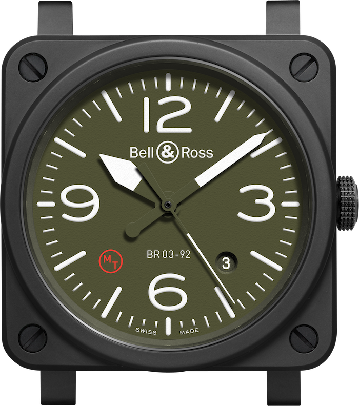 Up close of the BR03-92 Military Type ceramic case and dial.