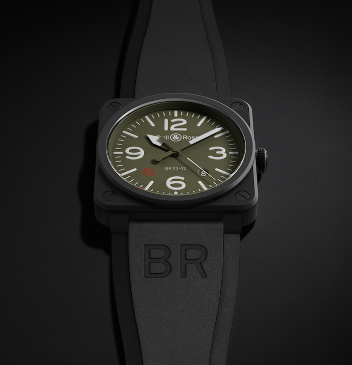 Bell & Ross Military Type with black rubber strap.