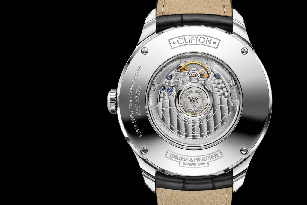 The caseback of the Baume & Mercier Clifton GMT features a sapphire crystal for viewing the movement.