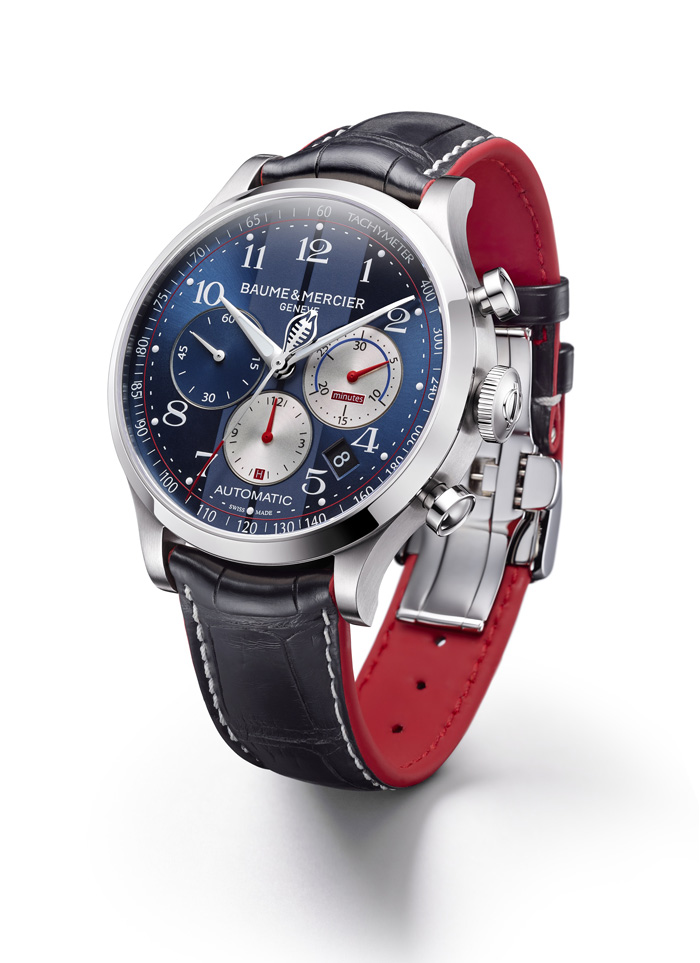 The steel version of the Capeland Cobra has a blue strap with a racecar red inner lining