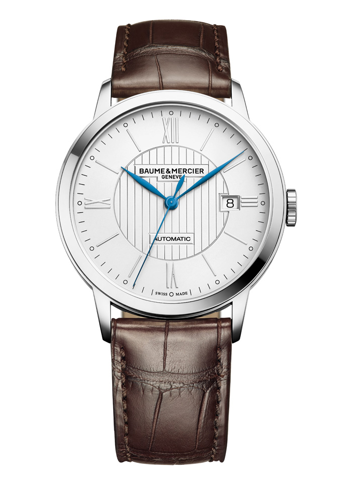 The new Baume & Mercier Classima watch features a pin stripe dial.