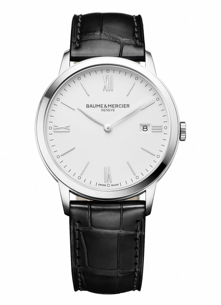 Baume et Mercier Classima quartz 40 mm steel watch with black leather strap