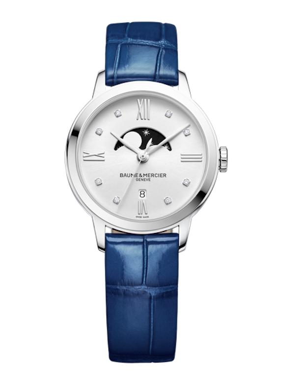 Baume & Mercier Classima watch with moon phase indication.