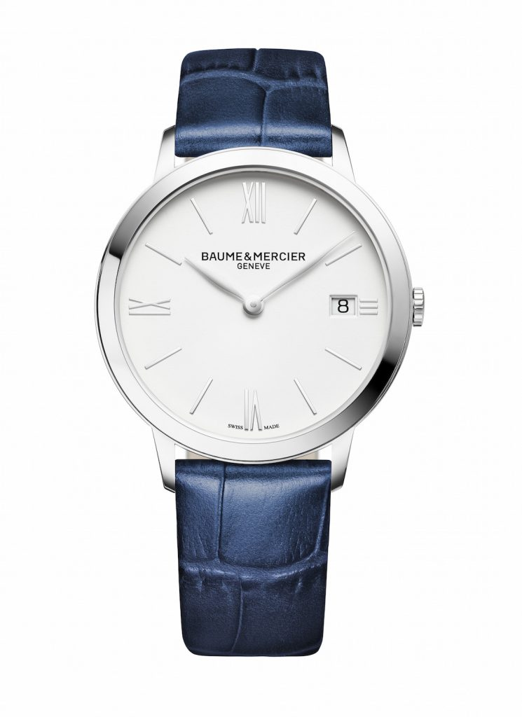 Baume et Mercier Classima 10355 front quartz 36 mm steel blue leather