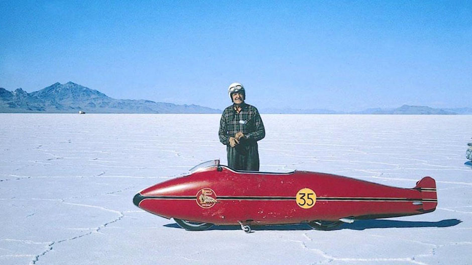 Burt Munro Historic photo at the Bonneville Salt flats