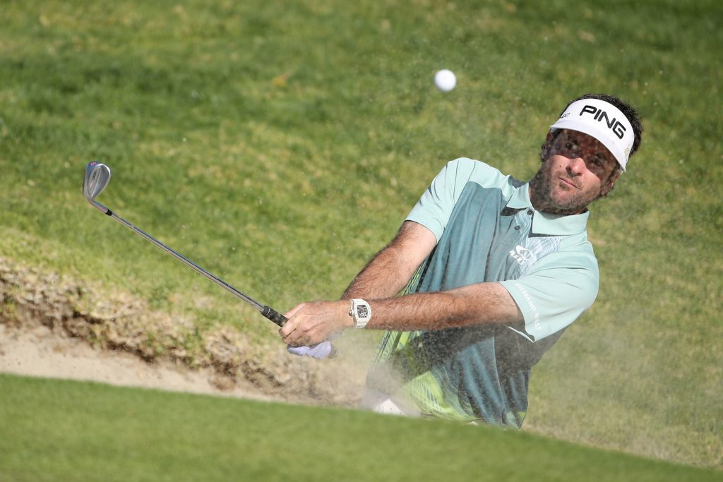 PACIFIC PALISADES, CA - FEBRUARY 18: Bubba Watson plays his shot from the bunker on the 14th hole during the final round of the Genesis Open at Riviera Country Club on February 18, 2018 in Pacific Palisades, California. (Photo by Christian Petersen/Getty Images)