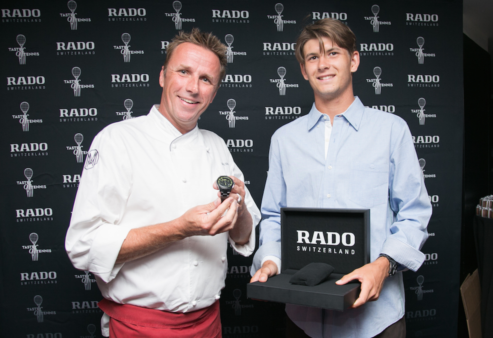 Donaldson presenting Chef Marc Murphy with a HyperChrome Court Collection watch at the Taste of Tennis event last week.