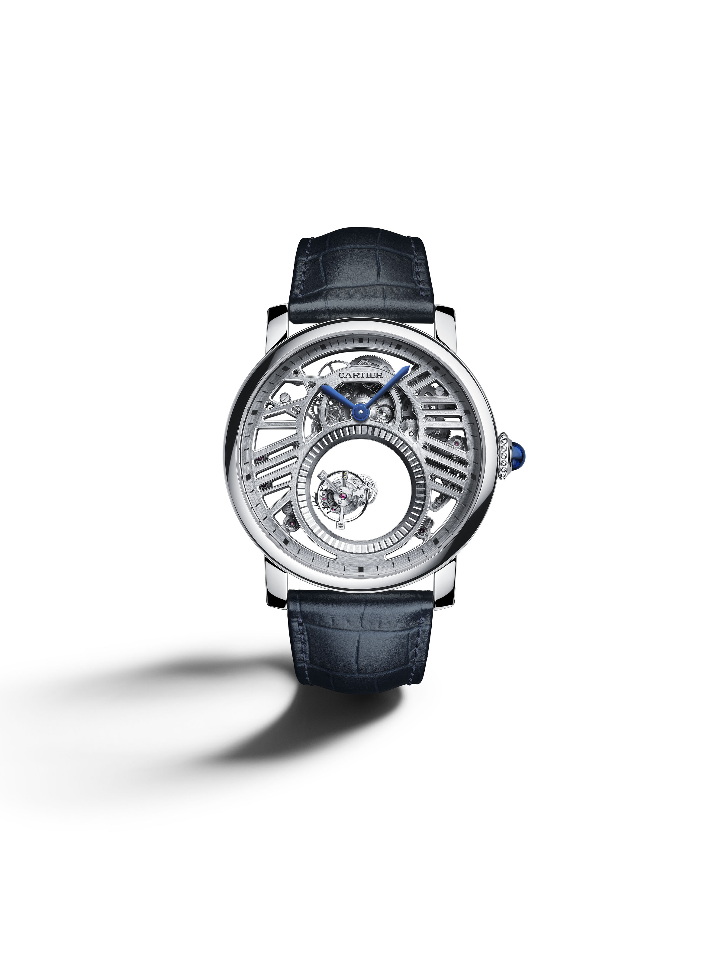 SIHH 2018: Cartier Rotonde de' Cartier Skeleton Mysterious Double Tourbillon is powered by the caliber 9465 MC, made in house.