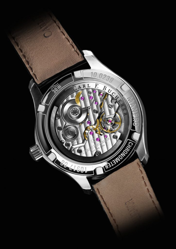 The COSC-certified chronometer Carl F. Bucherer Manero Peripheral watch caseback.