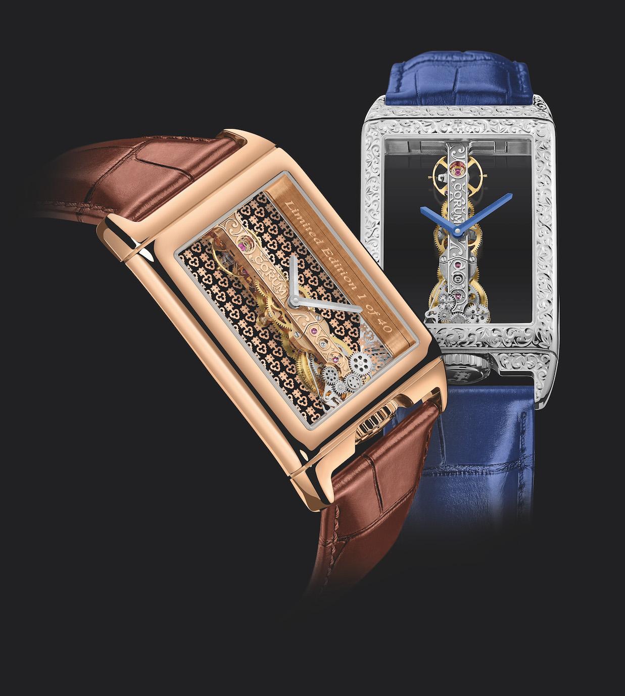 CORUM Golden Bridge Rectangle 40th Anniversary watches.