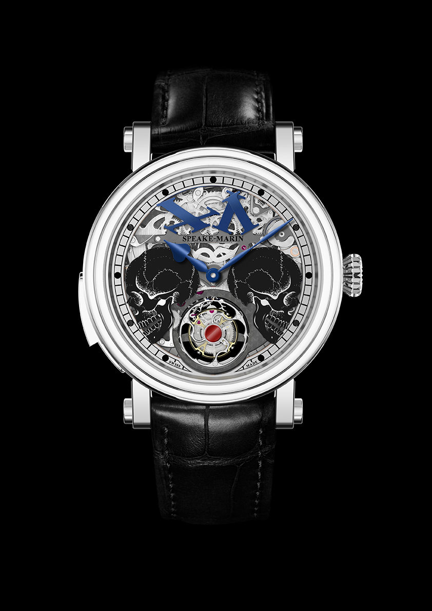 In the Peter Speak-Marin Crazy Skulls watch, the two skulls separate to reveal the tourbillon beneath them.
