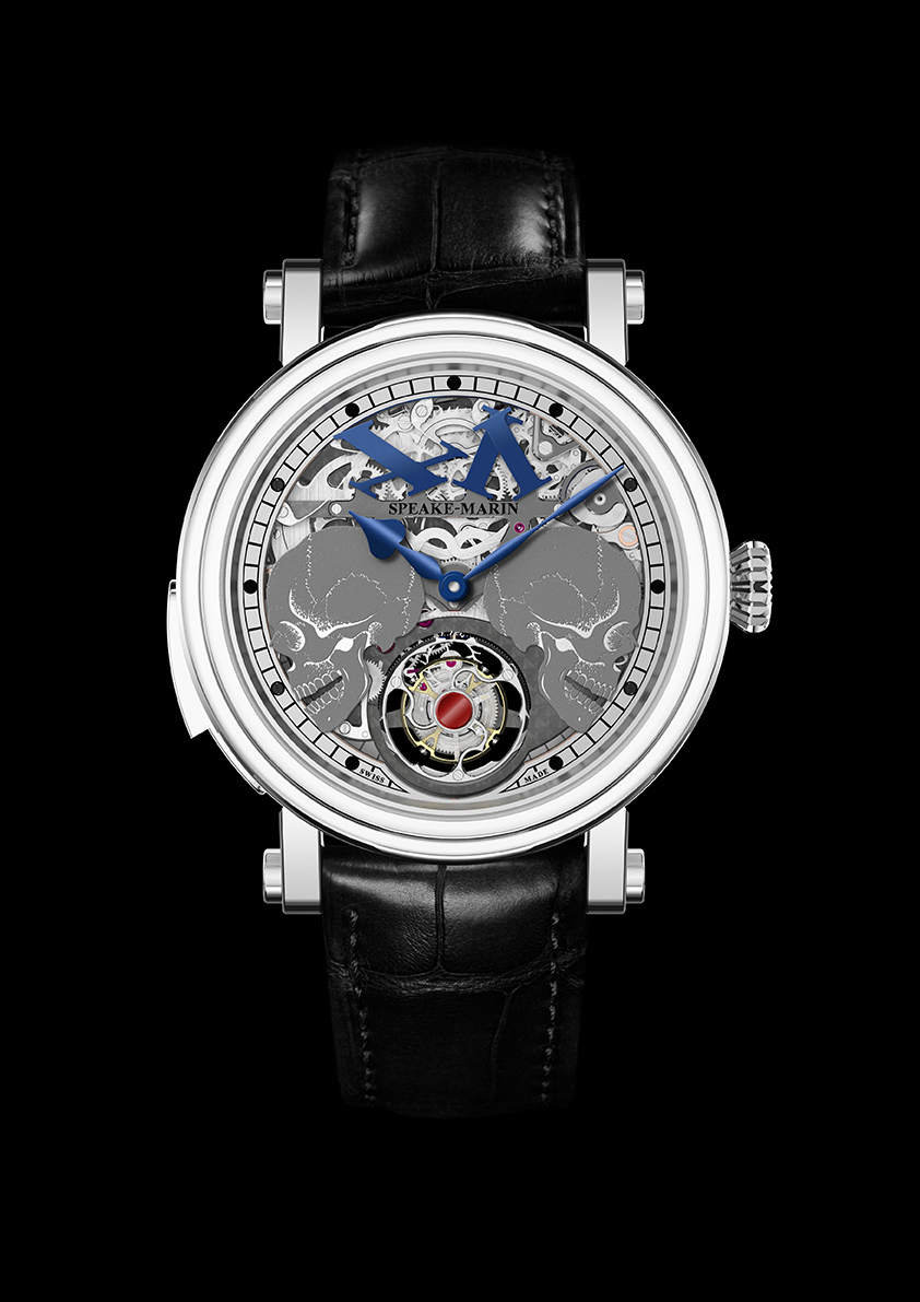 "When the skulls move aside to reveal the tourbillon, the numerals at 12:00 also ""fall apart."""