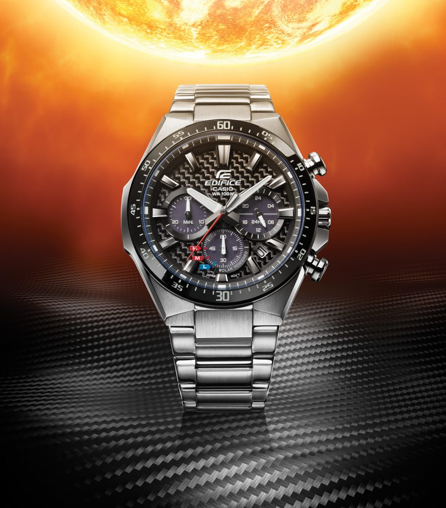 New Casio Edifice EQS800 solar powered watch with carbon dial.