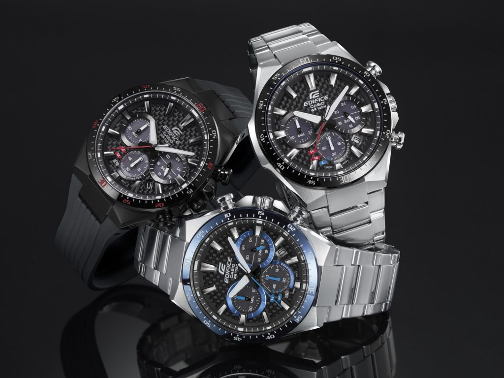 The Casio Edifice EQS800 solar powered watch with carbon dial retails for $170.