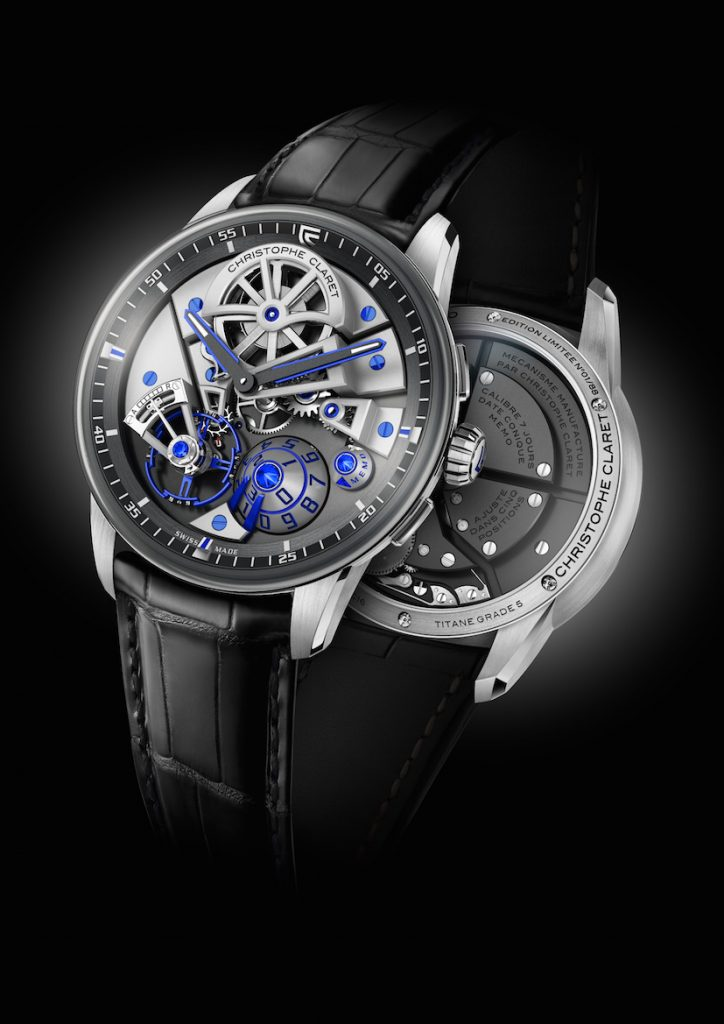 Christophe Claret Maestro in Grade 5 Titanium with blue accents and natural blue sapphires atop the cones on the dial.