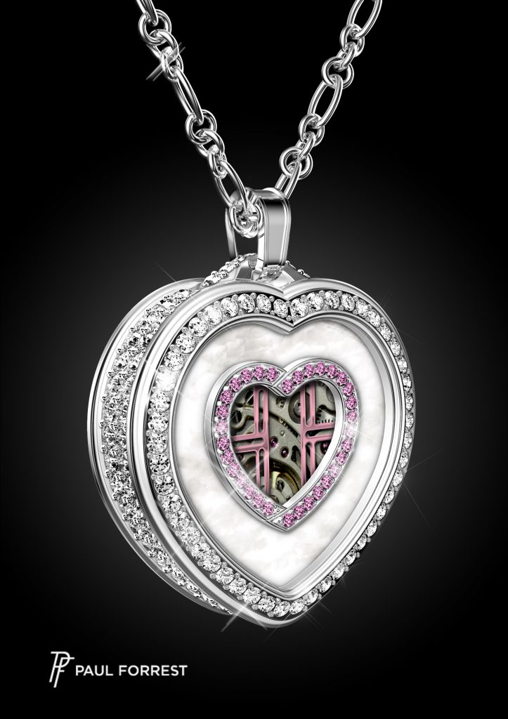 Paul Forrest Heart's Passion pendant is powered by a mechanical Swiss-made watch movement with patented complication.
