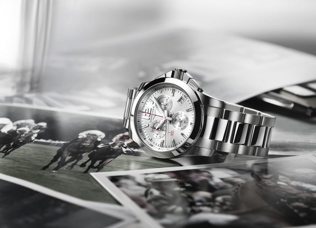 The Longines Conquest Chrono Racing, that times to 1/100th of a second, was awarded to the owners, trainer and jockey of Always Dreaming at the Kentucky Derby.