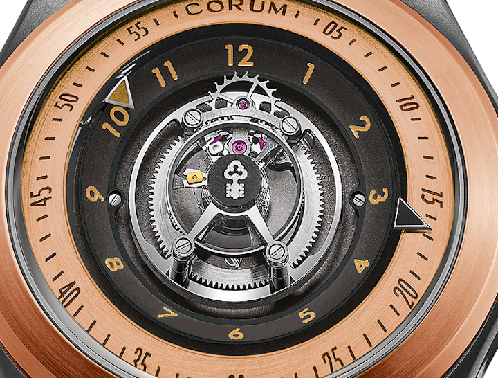 Corum 18-karat rose gold 47mm Bubble Central Tourbillon watch with a bi-directional rotor and offering 65 hours of power reserve.