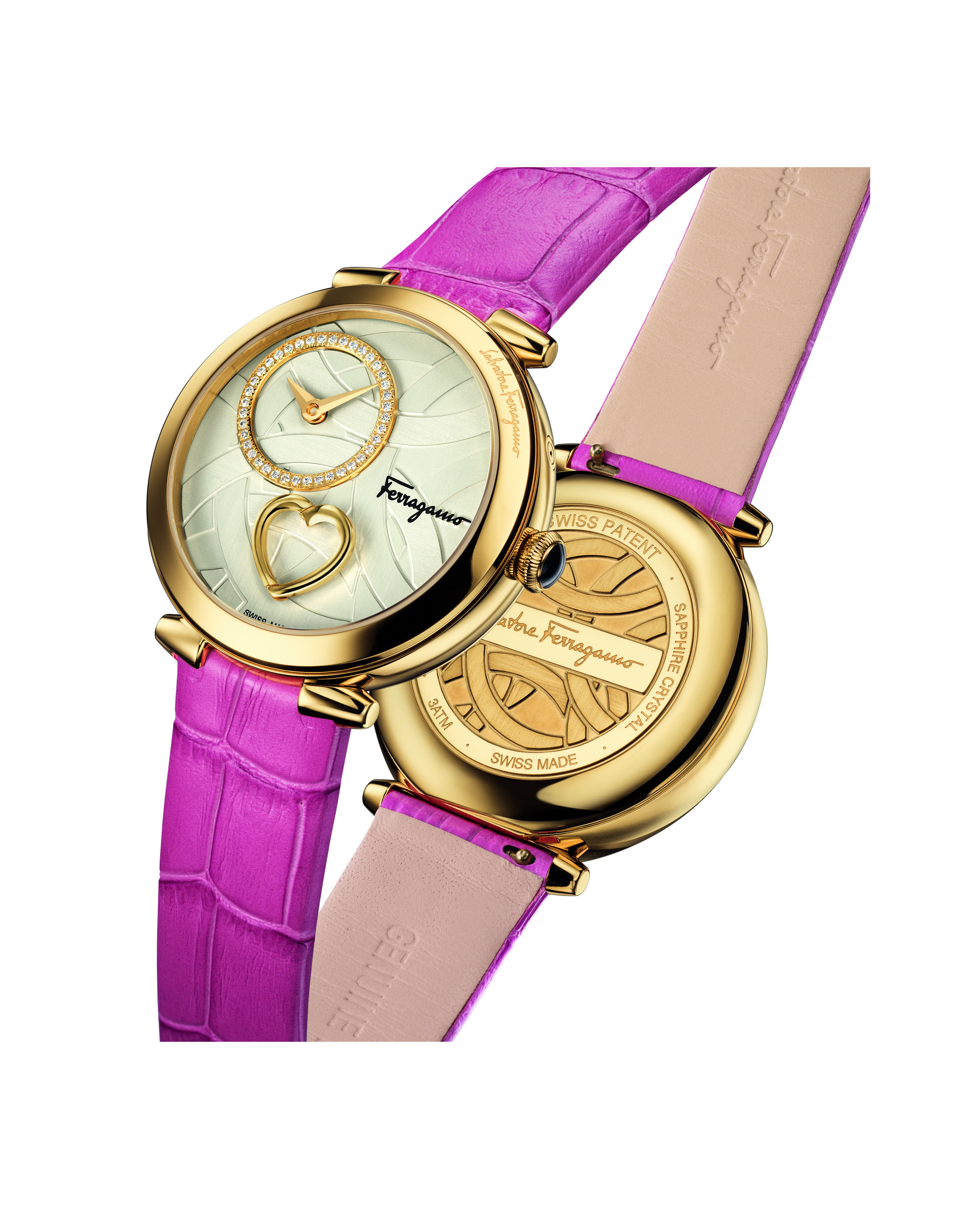 Cuore by Ferragamo watch with textured dial, diamonds and beating heart. It retails for $2,595.
