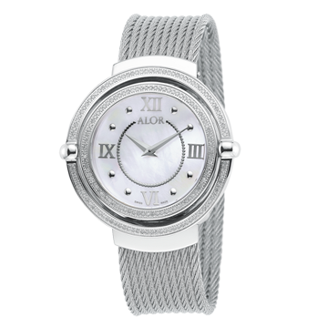 This ALOR 1979 watch is crafted in steel with a mother-of-pearl dial.