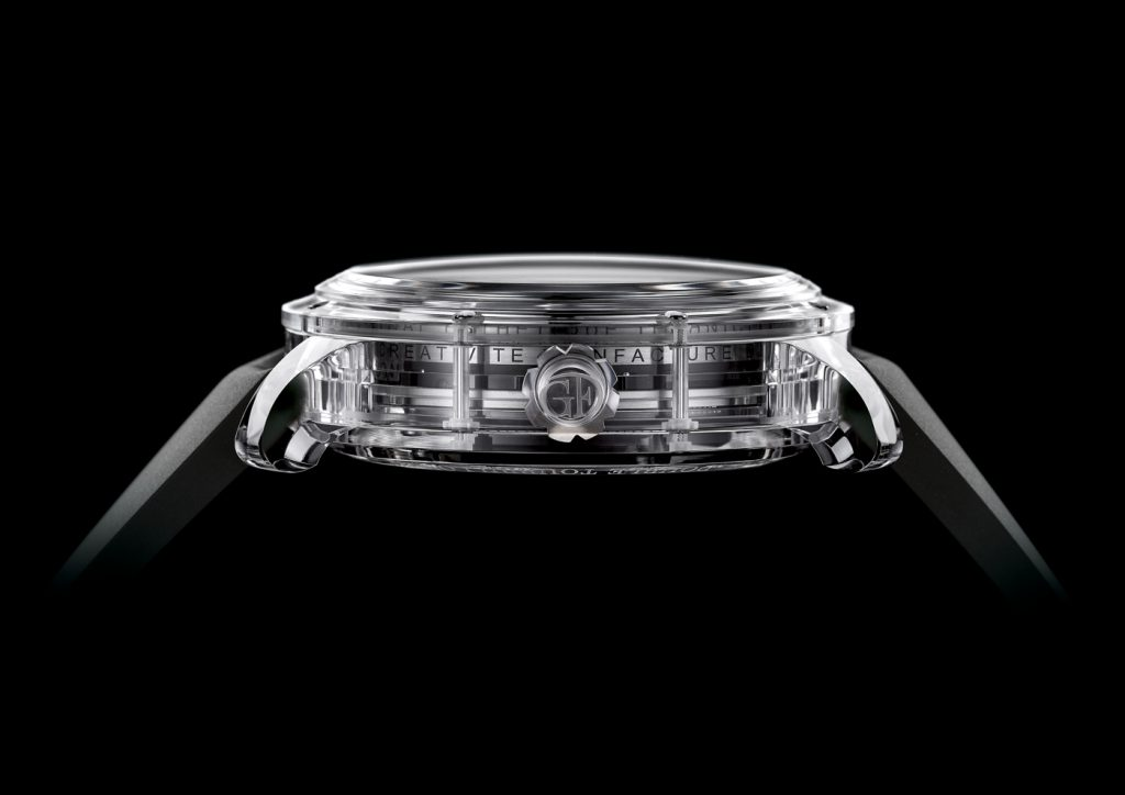 The transparent case enables the wearer to truly view the movement architecture from all sides.