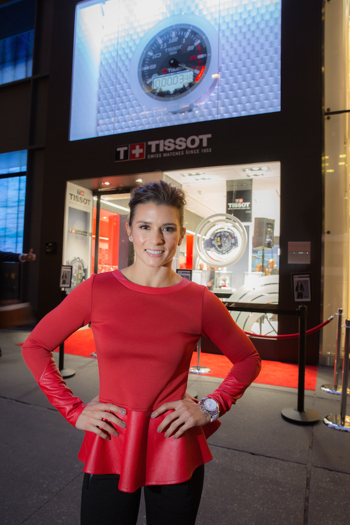Danica Patrick in front of the new Tissot Fifth Avenue boutique.