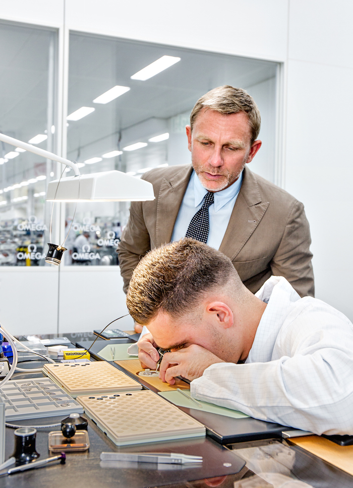 Daniel Craig during his visit to the Omega factory in Villeret, Switzerland.