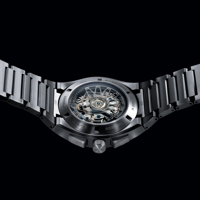 The caseback features a sapphire crystal for viewing the specially finished rotor.