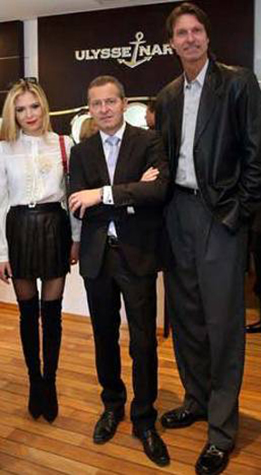 Brand ambassadors Lola Astanov and Randy Johnson join Patrik Hoffmann, CEO, of Ulysse Nardin at the store opening.