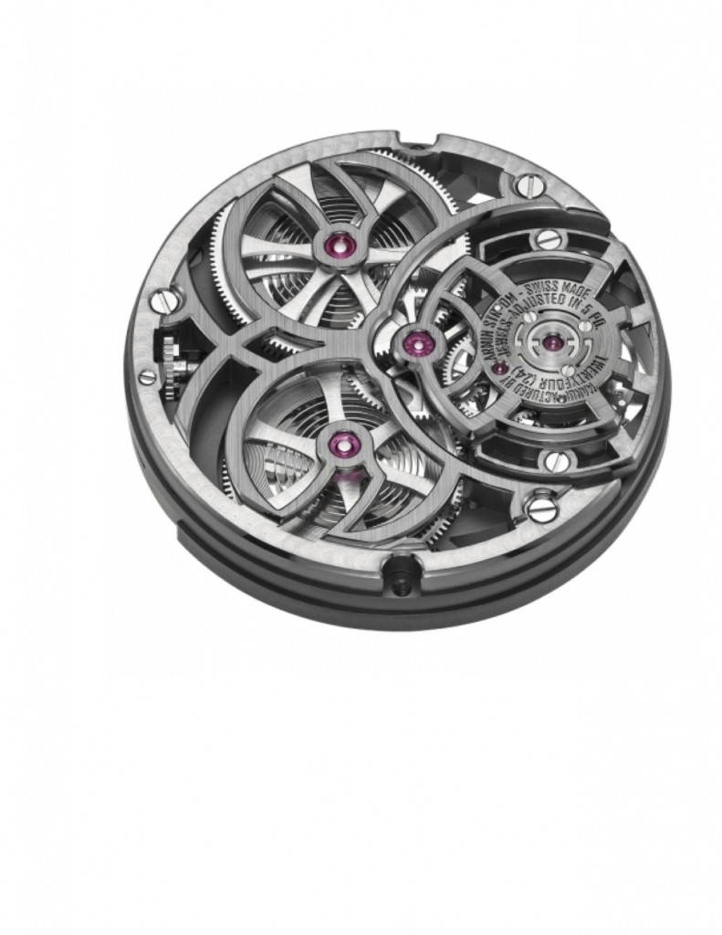 The watch is powered by the highly skeletonized ATC11-S in-house movement