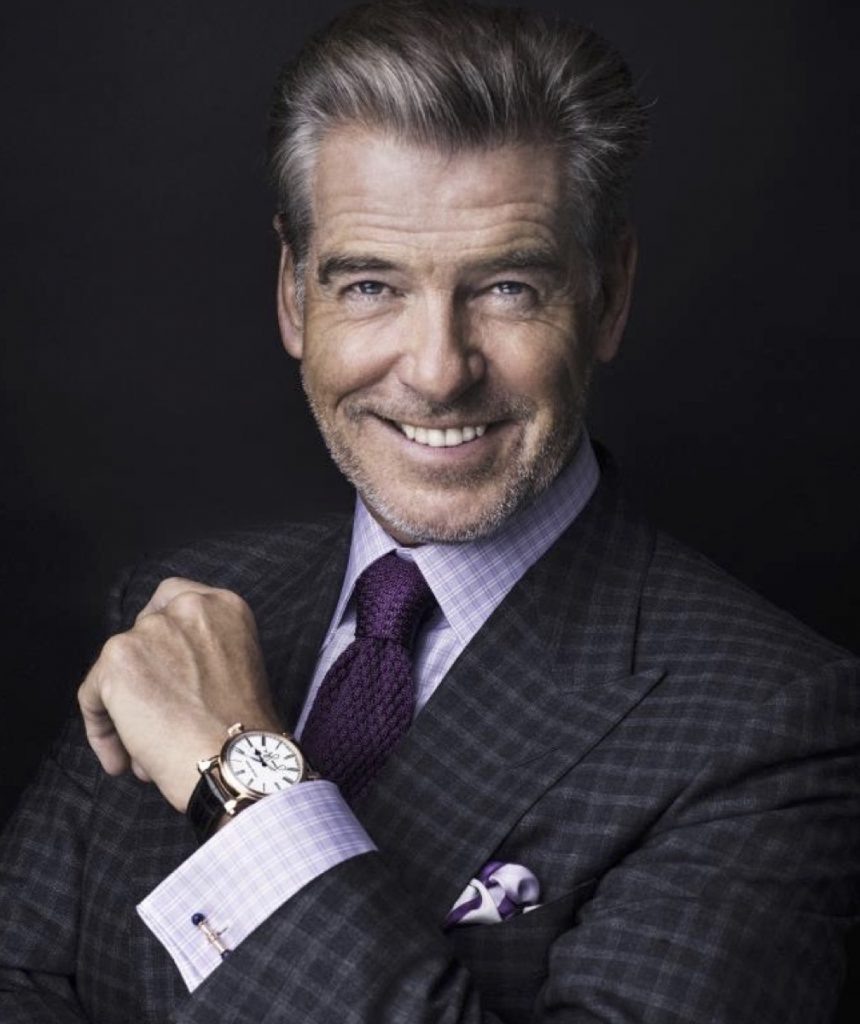 "Pierce Brosnan is a Speake-Marin brand ambassador, and he signed the words ""Love Life"" on the J-Class Resilience watch that is being sold at Only Watch 2017."