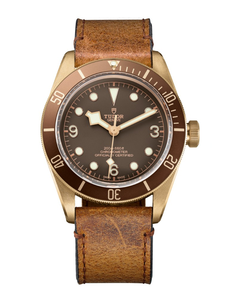 The Tudor Heritage Black Bay Bronze with bronze aluminum bezel is offered with either leather or canvas strap