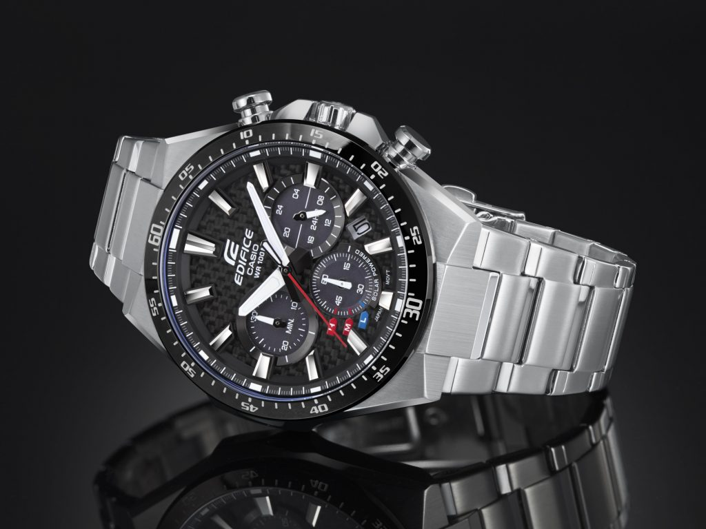 In stores now, the new Casio Edifice EQS800 solar powered watch with carbon dial comes in three versions.